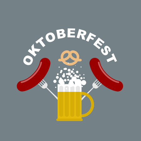 oktoberfest food: Oktoberfest logo. Beer mug with foam. Fried sausages and fork. Pretzel, beer snack. Vector Emblem for Beer Festival in Germany. Traditional food and alcohol. Illustration