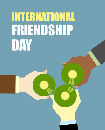 clinking: International Friends Day. Friends drinking beer. Top View Clink of beer bottles. Vector illustration for International holiday.