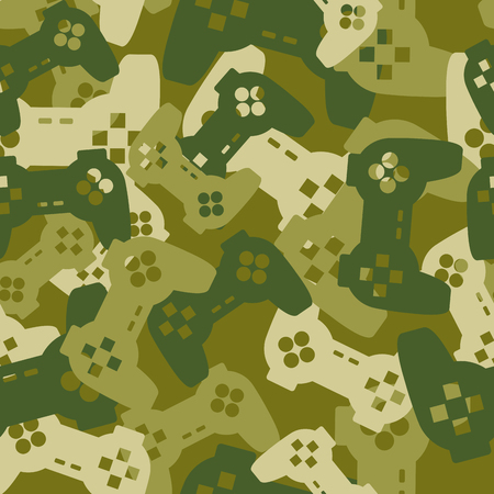 playstation: Military texture from gaming joysticks. Army seamless pattern gamepad. Vector Protective camouflage for soldier clothing gamer. Fun illustration Home sofa troops. Illustration