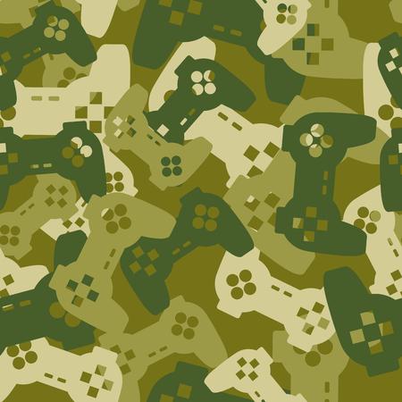 soldado: Textura militar de las palancas de mando de juego. Ejército Modelo inconsútil del gamepad. Vector camuflaje protector para la ropa soldado gamer. Diversión ilustración sofás Inicio tropas.
