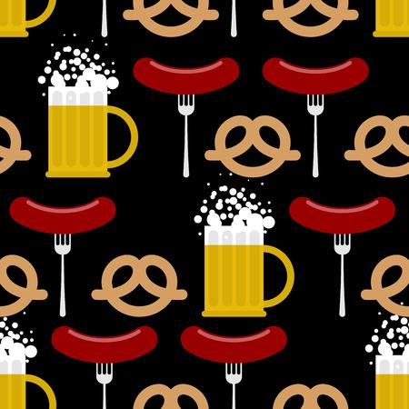 Seamless pattern beer and pretzels, sausage. Vector background of Symbols of Oktoberfest. Beer Festival in Germany. Illustration