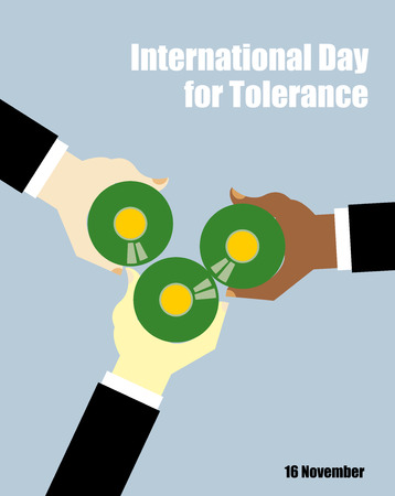 toasting: International Day for Tolerance. Toasting with beer. People of different races drinking beer. View from top. Hand holding a bottle of beer. Vector poster for holiday. Clink beer