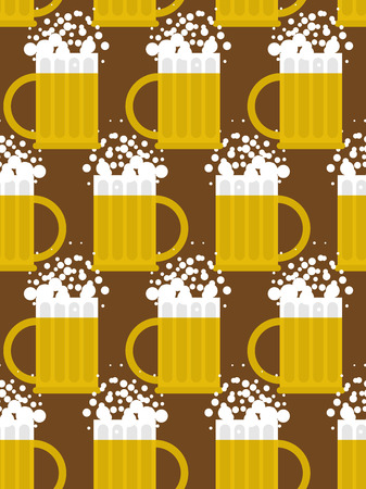 alcoholic drink: Beer seamless pattern. Beer mug vector background. Mug with foam-based alcoholic drink. Vector ornament. Illustration