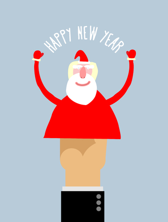 manipulation: Happy new year. Businessman hand manipulation Doll arm Santa Claus. Vector illustration Greeting card. Illustration