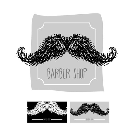 chaplin: Barber Shop logo. Emblem with a mustache. Vector illustration set of business cards for hairdressers.