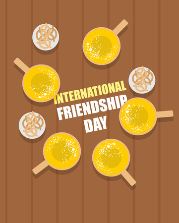 international beer: Mugs of beer on a wooden table and beer snacks pretzel top view. Alcoholic drinks for a group of friends. Vector illustration International  Friendship Day