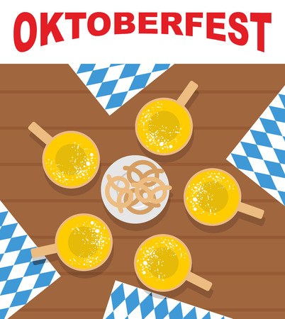 oktoberfest food: Table and beer mugs. View top. Plate with pretzels, snacks for beer. Oktoberfest. Doily ornament out of  blue. Traditional national food for Festival of beer.