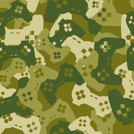 troops: Military texture from gaming joysticks. Army seamless pattern gamepad. Vector Protective camouflage for soldier clothing gamer. Fun illustration Home sofa troops. Illustration