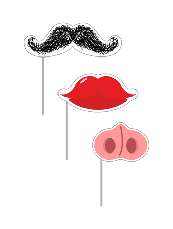 fake mask: Carnival mask set. Vector illustration Fake Mustache and lips. Nose of a pig on a stick. Mustache on a stick. Funny holiday accessories