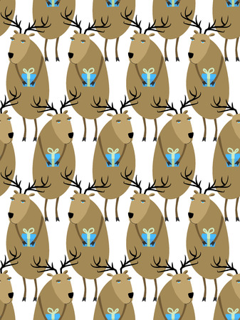 helpers: Christmas Reindeer with gifts seamless pattern. Horny animals, Santas helpers. Christmas animals vector background for  new year. Cute holiday ornament Illustration