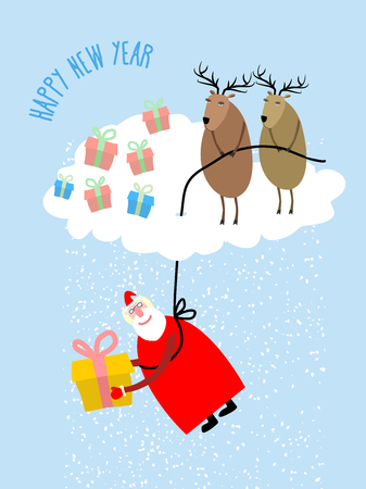 down town: Santa Claus comes down on a rope and gives a gift. Deer on cloud cover Santa Claus. Snow from clouds. Christmas greeting card. Vector illustration for Christmas.