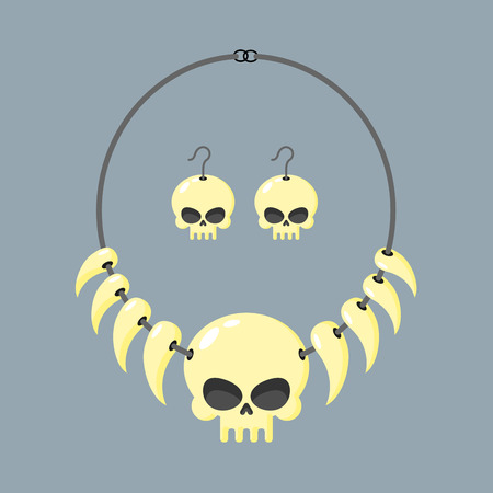 tusks: Necklace of skull and tusks. Beads, Aboriginal cannibals and barbarians. Vector illustration terrible piece of jewelry. Head of  skeleton and teeth of animals on  rope.
