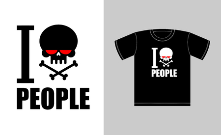 hatred: I hate people. Symbol of hatred skull with bones. Sign for t-shirts bully and punk. Vector illustration Illustration