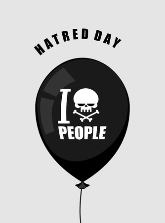 impatient: Hatred day. I hate people. Black balloon with a symbol of hatred: skul crossed bones. Accessory for bully and punk. Vector illustration Illustration
