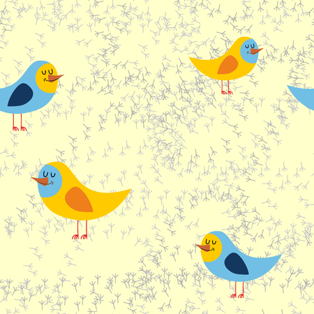 bird tracks: Bird tracks in sand a seamless pattern. Vector background of lovely birds Vectores