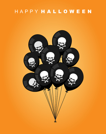 terrible: Happy Halloween. Black balloon with skull and bones. Accessory to terrible and terrible holiday. Vector illustration artwork for  party Illustration