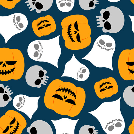 beggars: Pumpkin, Ghost and skull seamless pattern. Vector backgrounds for Halloween. Texture for holiday Beggars Night Illustration