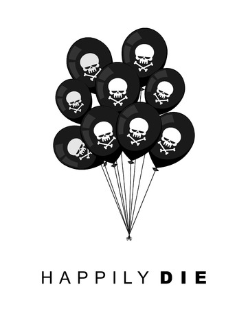 mournful: Happily Die. Set of Black balloons for funeral party. Skull with bones. Vector illustration. Mournful postcard Illustration