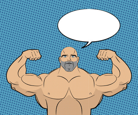 muscle boy: Bodybuilder with big muscles and bubble. People in style of pop art. Trained athlete shows muscles and said. Space for text. Vector illustration Illustration