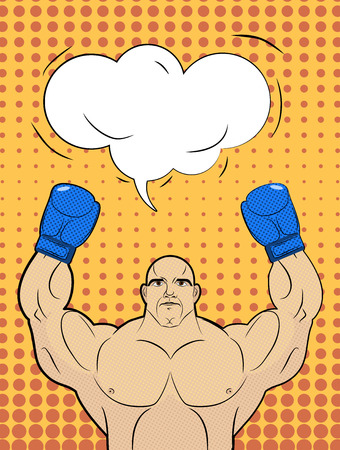 knock out: Boxer-style pop art with a bubble over his head. Strong man raised up his hands in boxing gloves. Winner in sports competitions. Comics retro vector illustration. Boxing champion. Illustration