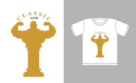 roman column: Classic Gym icon. Bodybuilder silhouette and an ancient Greek column. Emblem on  shirt for Sports Club members. Torso of an athlete with big muscles on Roman column. Vector illustration Illustration