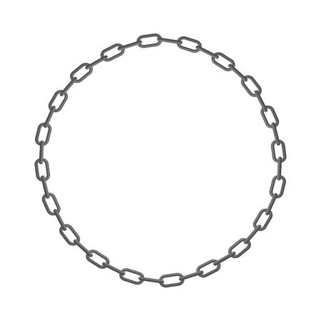 Ijzeren ketting. Frame van de cirkel van de ringen van de keten. Vector illustratie.
