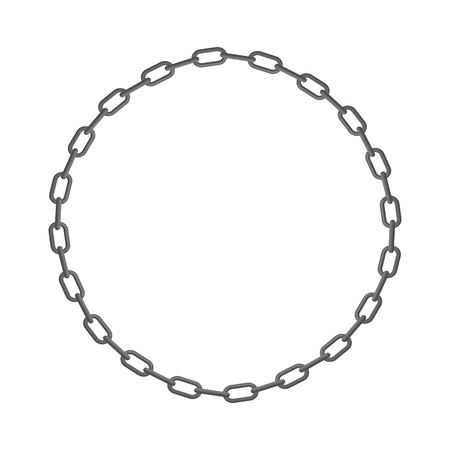 Iron chain. Circle frame of  rings of chain. Vector illustration.
