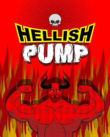 Hellish pump. Satan bodybuilder with huge muscles. Workout with the devil in purgatory. Red athlete with large horns. Gym in Gehenna fire. Devilish pumping muscle. Vector illustration