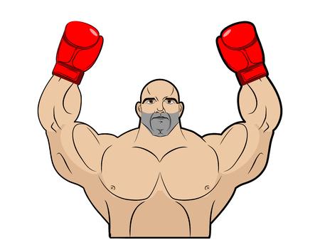 sports winner: Winner, champion of boxing. Strong man on white background. Bodybuilder in bkserskih gloves. Sports athlete raised his hands up. Vector illustration of man. Illustration