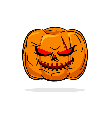 glowing carved: Terrible pumpkin Halloween symbol. Vegetables on a white background. Vector illustration for holiday.