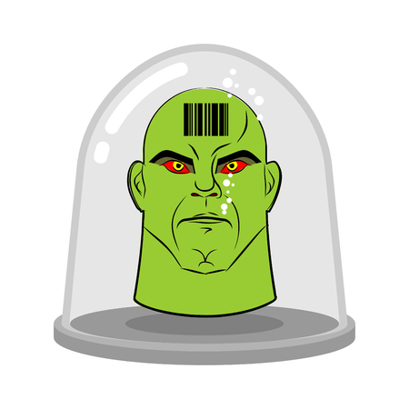 humanoid: Head of alien in glass jar for experiments. Green humanoid with red eyes. Research of  future. Lab exhibit. Fantastic vector illustration.