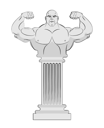 doric: Pedestal with body of athlete. Greek column with a strong man. Vector Antique statue bodybuilder.