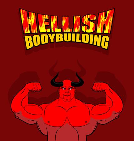 satanas: Culturismo infernal. Satanás, con grandes músculos. Gimnasio en el infierno. Strongman del inframundo. Ilustración del vector. Diablo rojo con cuernos con enormes bíceps. Ilustración para el gimnasio, sala de fitness. Vectores