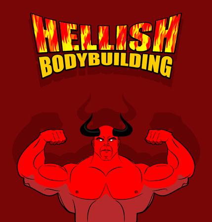 underworld: Hellish bodybuilding. Satan with big muscles. Fitness in hell. Strongman from the underworld. Vector illustration. Red Devil with horns with huge biceps. Illustration for  gym, fitness Hall. Illustration