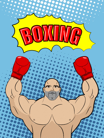 babble: Boxing champion  style of pop art with the babble box. Athlete raised his hands in a victory gesture. Man in boxing gloves on a blue background. Vector illustration sports fighter.
