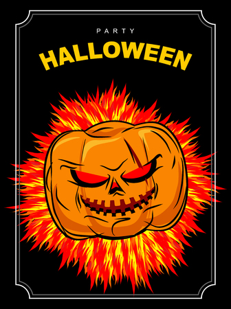red eyes: Halloween party. Scary pumpkin with red eyes and a fiery background. Vector poster for scary holiday