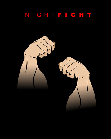 Night fight. Fists of darkness. Kick of  night. Two hands prepared for battle. Fighting stand of athlete. Vector illustration