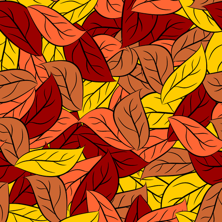 autumn leaves background: Autumn texture of  leaves of trees. Vector seamless pattern foliage on Earth.  Yellow and orange leaves background