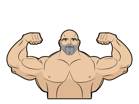 builder symbol: Bodybuilder on a white background. Athlete with big muscles. Big brutal men with muscled. Emblem for gym.  Fitness model in pose a double biceps in front. Vector illustration.