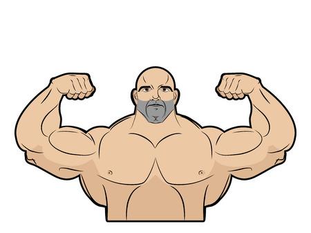 musculo: Bodybuilder sobre un fondo blanco. Atleta con los músculos grandes. Hombres brutales grandes con musculoso. Emblema de gimnasio. Modelo de la aptitud en actitud un doble bíceps delante. Ilustración del vector. Vectores