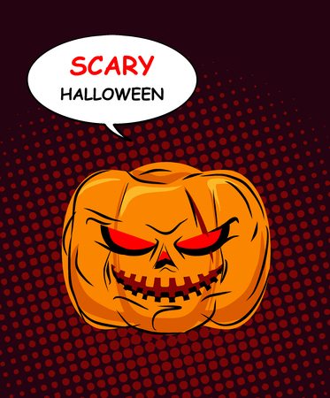 hellish: Scary Halloween. Horrible Pumpkin with red eyes symbol of holiday. Hellish Vegetable open-mouthed and bubble. Vector illustration for celebration of evil. Background illustrations in style of pop art.