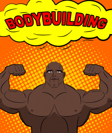 bodybuilding boy: African American athlete in style of pop art. Trained bodybuilder shows big biceps. Bubble with text bodybuilding. Retro vector illustration Illustration