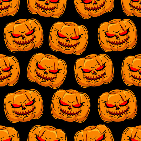 horrible: Scary pumpkin seamless pattern. Background for Halloween. Vector ornament for a horrible holiday evil.