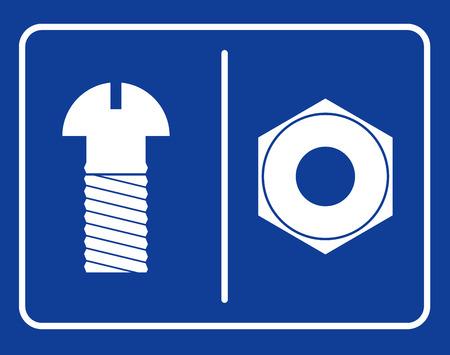 public toilet: Bolt and nut restroom sign. Symbol public toilet. Sign male toilets bolt. Sign of female toilets nut.  Set Vector pictograms