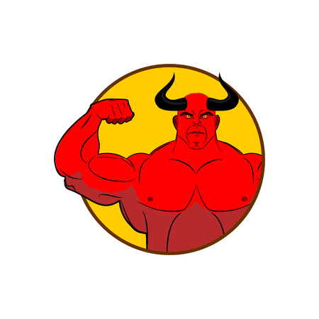satan: icon for gym. Satan bodybuilder shows biceps. Emblem for sports teams. Horned red Demon with large muscles. Vector illustration of  devil.