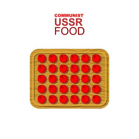 ussr: Dumplings on a wooden cutting board. Communist red dumplings. Food from USSR. Vector illustration of allegory.