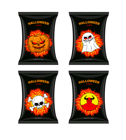 satanic: Set chips for Halloween. Terrible Food for holiday. Snacks with different tastes. Chips with pumpkin flavor. Chips with ghosts. Chips with a taste of  bones. Satanic hell chips. Vector comic illustration