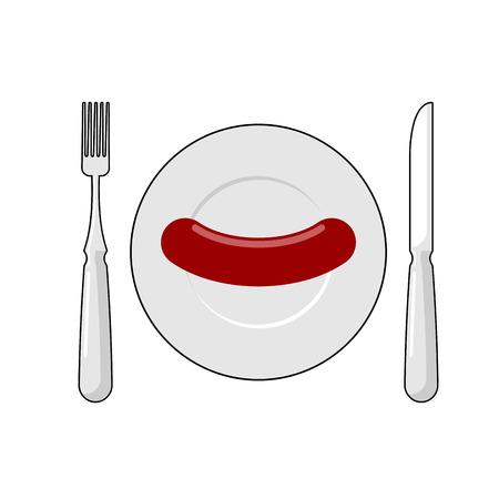 Salchicha en plato y cubiertos Vista superior. Tenedor y cuchillo. Desayuno saludable rápido. Ilustración del vector de comida para pobres. Ilustración de vector