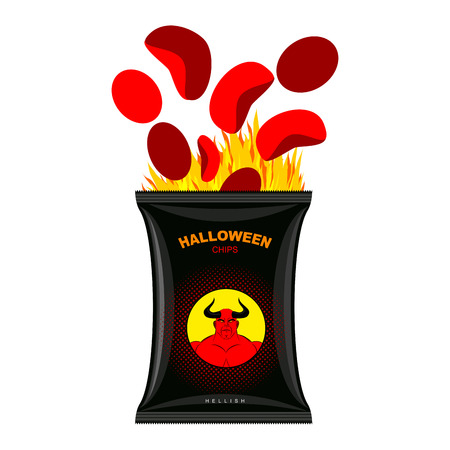 hellfire: Hellish chips for Halloween. Packing snacks with Satan. Hellfire in black tutus. Red chips are eliminated from  packaging. direful food for terrible holiday. Vector illustration Devils food