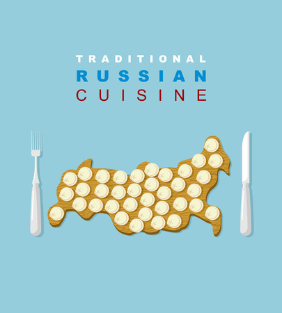 russian cuisine: Russian traditional cuisine. Russians national dish. Dumplings on a wooden cutting board in the form of a map of country. Traditional Russian food. Cutlery: knife and fork. Vector illustration for restaurants and cafes.